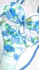 エメ上品シフォンブラセット★バックスケすけセクシーショーツ艷フラワー純白レース清楚姫エロカワ