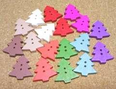 カラーウッドボタン18個ツリー
