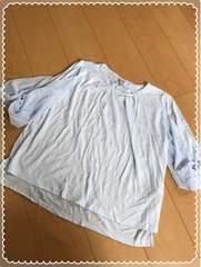 薄水色/5分丈/袖ふわっとリボン/後ろレース/カットソー/Lサイズ