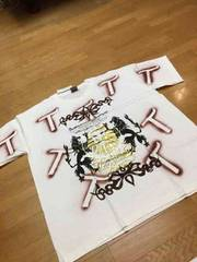 TOOLS  豪華デザインゴールドプリント Tシャツ  白ホワイト  size3XL