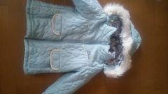 美品。eab水色コート。110〜120cm