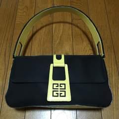 ヴィンテージ ジバンシー バイカラーハンドバッグ 黒×黄 美品