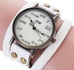 ホワイト ぐるぐる 数式 腕時計 レザー