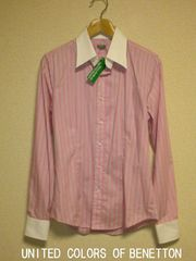 □BENETTON/ベネトン ピンクストライプ  ビジネス ドレスシャツ/メンズ☆新品