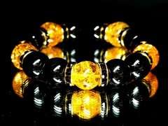 【目標実現】ブラックオニキスXシトリンクラック数珠