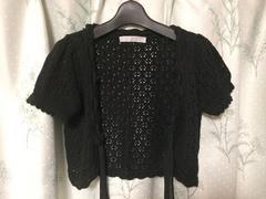 美品ブラック黒色かぎ編みニット半袖リボンボレロ
