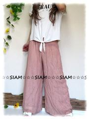 新作☆大きいサイズ☆3L淡ピンク☆腰ゴム☆レーヨン使いワイドパンツ