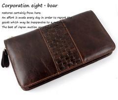 ◆牛本革 編込み大きめラウンドファスナー財布◆k9