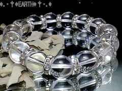 天然石★12ミリ高級天然水晶AAA銀色ロンデルオラオラ数珠
