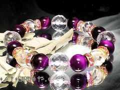 天然石★ピンクタイガーアイ&高級水晶数珠