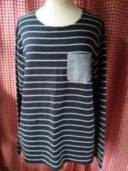 LL/men's/大きいサイズボーダー長袖Tシャツ/紺