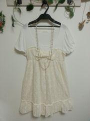 LEST ROSE☆白×アイボリーオフホワイト花透かし生地☆リボン アクセント♪