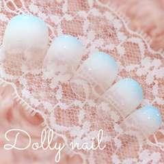 みぢょ!チビ爪ベリショ爽やか可愛いホワイト&パステルブルー2色グラデネイル