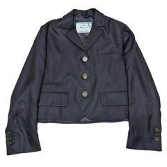 新品プラダ シルクジャケット 濃紺 #38 PRADA
