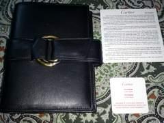 Cartier 黒カーフ 手帳カバー トリニティ