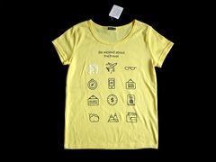 新品 RELACHE 黄色 ロゴ Tシャツ 半袖 小物 レディース M 黄