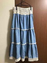 水色longフレアスカート  Mサイズ