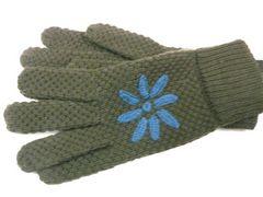 ロメオジリ ニット手袋カーキお花モチーフ