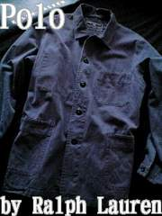 【POLO】ラルフローレン Vintage Washed カバーオール L/Blue ヘリンボーン