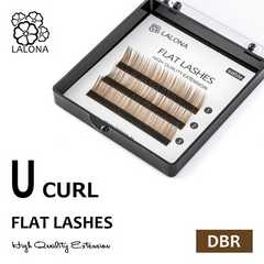[LALONA]FLAT LASHES  0.07mm Uカール (ダークブラウン)