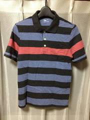 GAP ギャップ ボーダー柄 半袖ポロシャツ XSサイズ細身 黒×青×赤 ポケット付