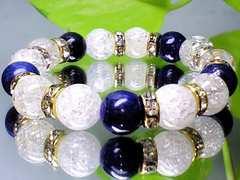 ラピスラズリ瑠璃石§クラック爆裂水晶§10ミリ§金ロンデル
