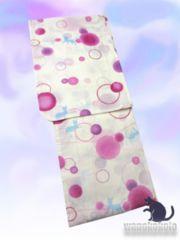 【和の志】女性用浴衣◇Fサイズ◇生成系・水玉に猫628-28