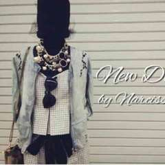 Narcissus◇レースデザインデニムジャケット◇ノーカラー