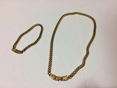 1スタ●美品 ゴールドチェーンネックレス&ブレスレット セット