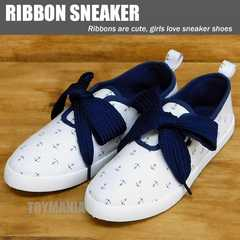 新品 リボン スニーカー ローカット シューズ レディース アンカー柄 靴 女性 24-25cm