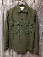 WA-SEY ワセイ シルバー&ゴールド ミリタリーシャツジャケット S オリーブ カーキ 緑 日本製
