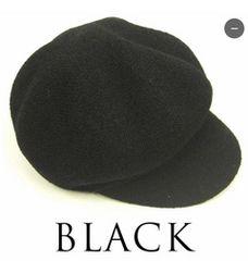 夏用 シンプルなブークレキャスケット帽 ブラック