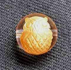 ☆金塗りふくろう☆12mm水晶手彫りビーズ1個