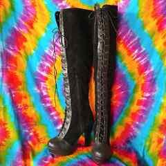 超美脚!レザー切り替え&スエード編み上げロング厚底ブーツ