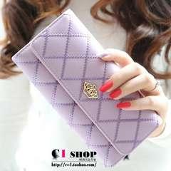 1円新品☆ハートクラウン菱形キルティング調三つ折長財布パープル紫