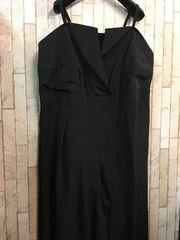 新品☆8Lサイズ黒オールインワンパンツドレス☆j968