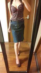 デニム×レザー×レーススカート定価¥18000
