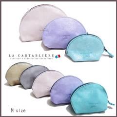 LA CARTABLIEREフランス製きらきらスエード 半円ポーチ#Mフ