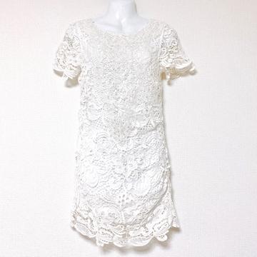 lagunamoonフラワーレース刺繍白ミニタイトチュニックワンピース