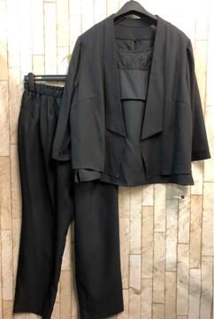 新品☆21号3L4L大きいサイズ黒パンツドレス3点setフォーマルs893