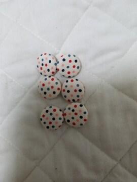 ハンドメイドくるみボタンドット柄22�o×6コ