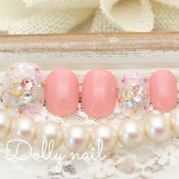 みぢょ!チビ爪ベリショ春色サーモンピンク華やかフラワー可愛いさくら桜ネイル
