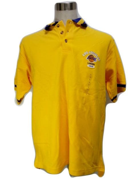4yel NBA ロサンゼルス レイカースLAKERS ポロシャツ イエローL  < 男性ファッションの