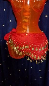 ベリーダンス、シェイプ用ヒップスカーフ赤