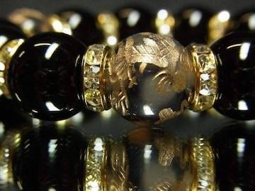 オラオラ系ブレスレット!!皇帝金龍ドラゴンアゲート×ブラックオニキス数珠