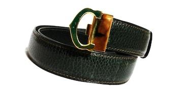 正規レア Cartier カルティエ Cバックルロゴベルト ゴールド×緑 80 兼用 調節可