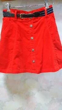 ピンクラテ☆コーデュロイ赤インパン&ベルト付きスカート/160(S)