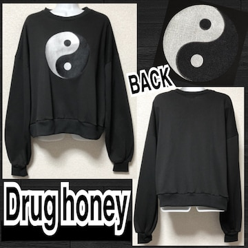 【新品/Drug honey】太陰太極図刺繍スウェットプルオーバー