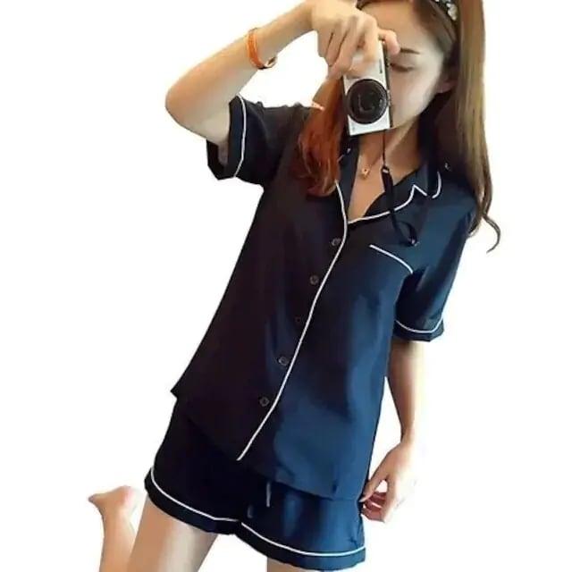 衝撃価格990円★大人気パジャマ シルク 前開き 半袖ネイビーM < 女性ファッションの