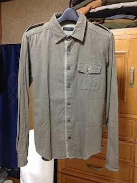 古着 スリック ワーク ミリタリー 長袖シャツ Sサイズ36 カーキ 緑 日本製 ユーズド加工